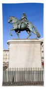 Statue Of King Charles IIi In Madrid Hand Towel