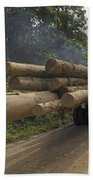 Truck With Timber From A Logging Area Bath Towel