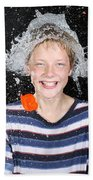 Water Balloon Popped Above Boys Head Bath Towel