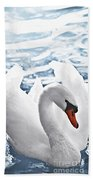White Swan On Water Bath Towel