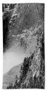 Yellowstone Waterfalls In Black And White Bath Towel