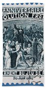 old French postage stamp Bath Towel