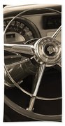 1953 Pontiac Steering Wheel - Sepia Bath Towel