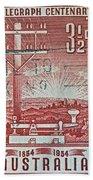 1954 Centenary Of Australian Telegraph Stamp Bath Towel
