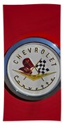 1957 Red Corvette Emblem Bath Towel