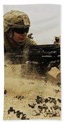 A Soldier Firing His Mk-48 Machine Gun Bath Towel