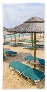 Beach Umbrellas On Sandy Seashore Bath Towel