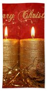 2 Candles Christmas Card Bath Towel