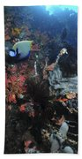 Colorful Reef Scene With Coral Bath Towel