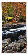 Fall Forest And River Landscape Hand Towel