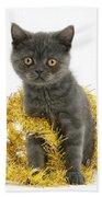 Kitten With Tinsel Bath Towel