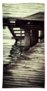 Old Wooden Pier With Stairs Into The Lake Hand Towel