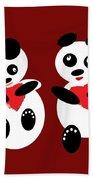 2 Pandas In Love Bath Towel