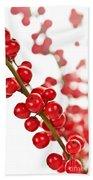 Red Christmas Berries Bath Towel