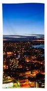 Sunset Over A City Nice Illuminated Bath Towel
