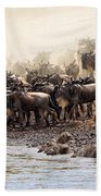 Wildebeest Before The Crossing Bath Towel