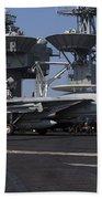 An F-14d Tomcat On The Flight Deck Bath Towel