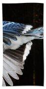 Blue Jay In Flight Bath Towel