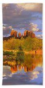 Cathedral Rock Reflected In Oak Creek Bath Towel