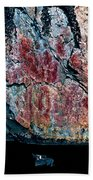 Painted Rocks At Hossa With Stone Age Paintings Bath Towel