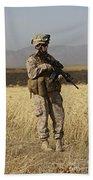 U.s. Marine Patrols A Wadi Near Kunduz Hand Towel