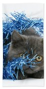 Kitten With Tinsel Bath Towel