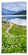 Mountain Lake In Jasper National Park Bath Towel