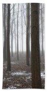 Trees With Fog Bath Towel