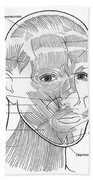 Illustration Of Facial Muscles Bath Towel