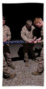 U.s. Marines Fold The American Flag Bath Towel
