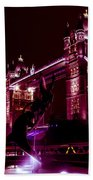 Tower Bridge And The Girl And Dolphin Statue  Bath Towel