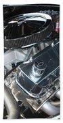 67 Black Camaro Ss 396 Engine-8033 Bath Towel