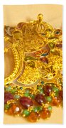 A Beautiful Intricately Carved Gold Pendant Hanging From A Semi-precious Stone Chain Bath Towel