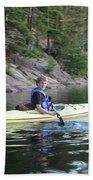 A Boy Kayaking Bath Towel