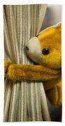 A Curtain With A Cute Stuffed Toy Bath Towel