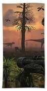 A Herd Of Allosaurus Dinosaur Cause Bath Towel