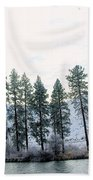 A Line Of Trees In Winter  Bath Towel