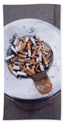 A Lot Of Cigarettes Stubbed Out At A Garbage Bin Bath Towel