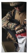 A Military Policeman Collects Materials Bath Towel