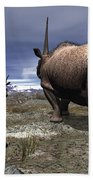 A Pair Of Male Elasmotherium Confront Bath Towel