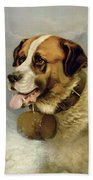 A Portrait Of A St. Bernard Bath Towel
