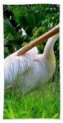 A Preening Stork Bath Towel