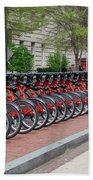 A Row Of Red Bikes Bath Towel