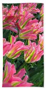 A Sea Of Pink Tulips. Square Format Bath Towel