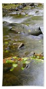 A Small Dam Of Golden Leaves  Bath Towel