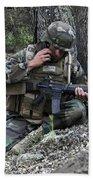 A Soldier Communicates His Position Bath Towel