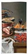 A Still Life Of A Fish Trout And Baby Lobsters Hand Towel