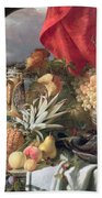 A Still Life Of Game Birds And Numerous Fruits Hand Towel