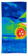 A Thermogram Of A Man Working On A Car Bath Towel