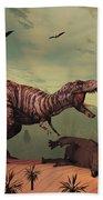 A Triceratops Falls Victim Hand Towel